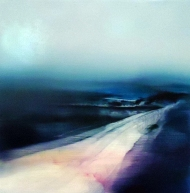 ©Anne Penman Sweet: 'Floodplains III' oil on gesso panel 20x20cm