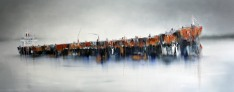 ©Anne Penman Sweet: 'Quadrans Muralis' oil on canvas 70x178cm